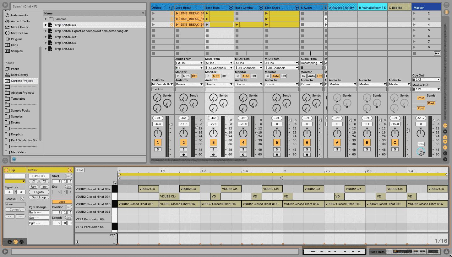 MIDI Clip View Live 10