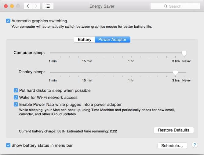 OSX Energy Saver