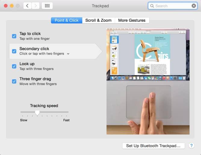 Trackpad secendery click