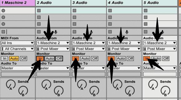 Maschine inputs and monitor