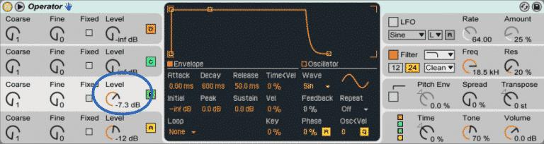 low wide bass osc b vol